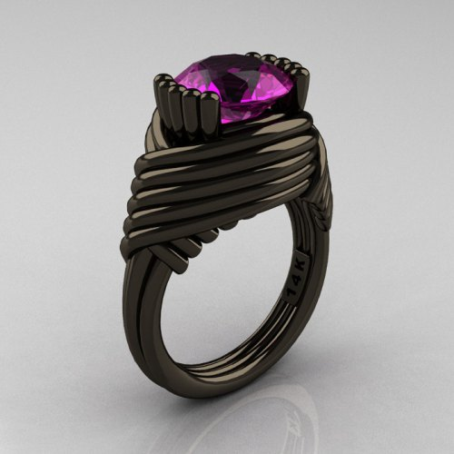 black gold ring pink diamond