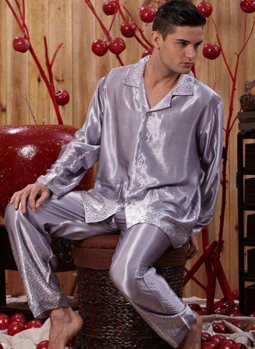 mens silk pajamas cheap