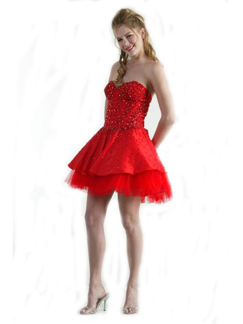 red prom dresses short