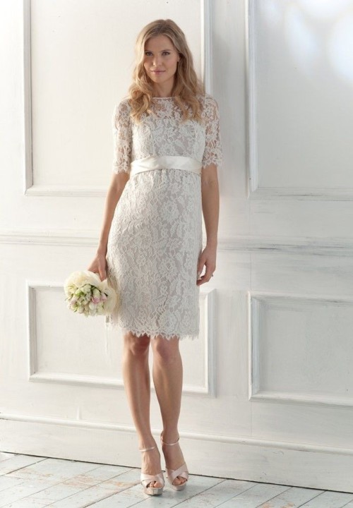short lace wedding dress with sleeves vintage inspired - Di Candia ...