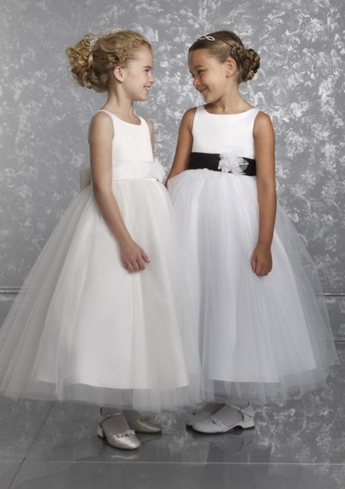 white flower girl dresses with sash