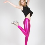 Shiny wetlook club leggings pink