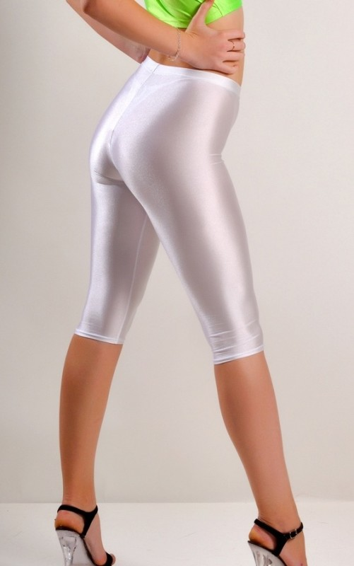 White Spandex Leggings Knee Length Di Candia Fashion