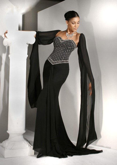 Black Evening Gowns With Sleeves Di Candia Fashion