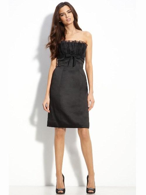 black strapless dress knee length