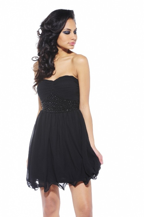 Black Strapless Dress Short Di Candia Fashion