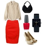 red pencil skirt plus size