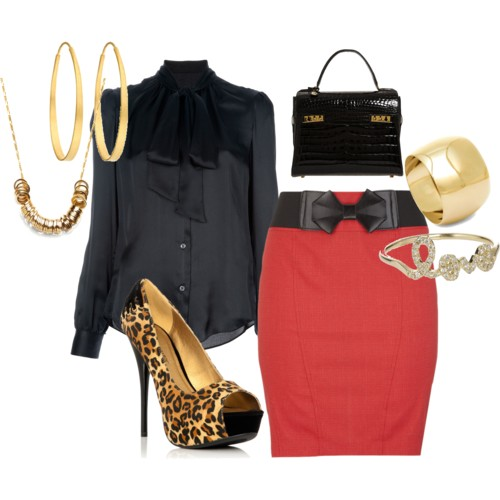 red pencil skirt polyvore
