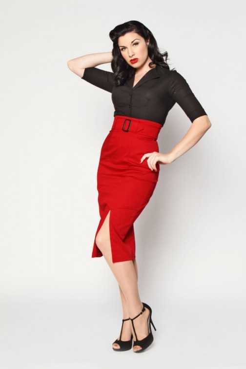 Red Pencil Skirt Suit Di Candia Fashion