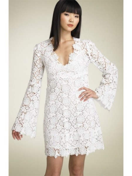 Short Lace Wedding Dress With Long Sleeves Di Candia Fashion - Short Casual Wedding Dress