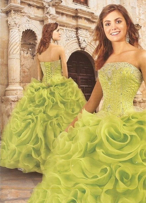 Green corset wedding dresses pictures for Nature themed wedding dress
