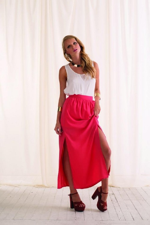 long maxi skirt with split