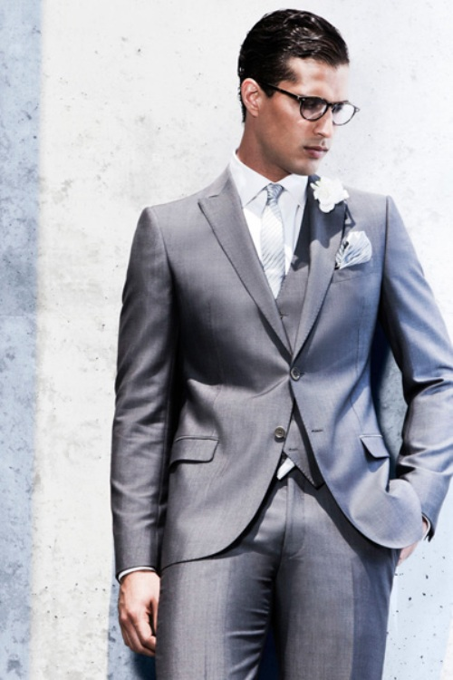 mens grey 3 piece wedding suits - Di Candia Fashion
