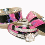 pink camo wedding rings with real diamonds
