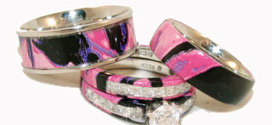 Pink Camo Wedding Rings with Natural Patterns