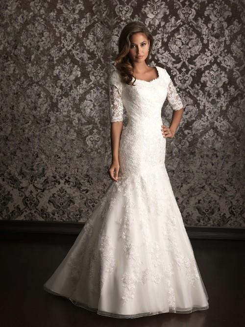 Mormon wedding dresses lace - Di Candia Fashion