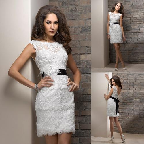 Short lace wedding dress pattern - Di Candia Fashion