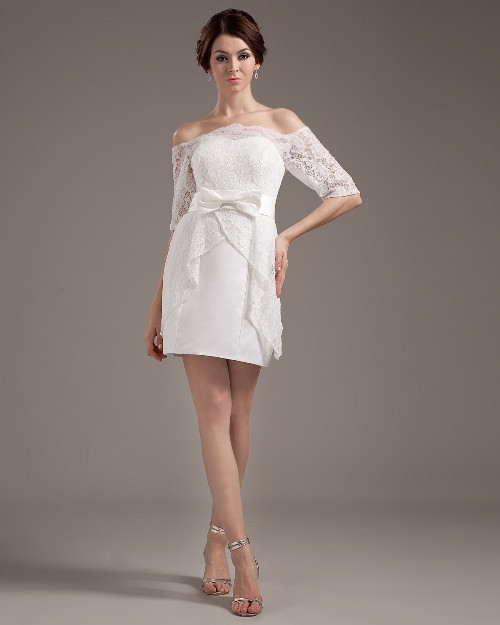 Short lace wedding dress with sleeves - Di Candia Fashion
