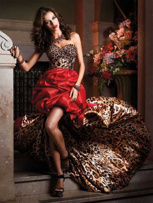 high low cheetah red prom dress