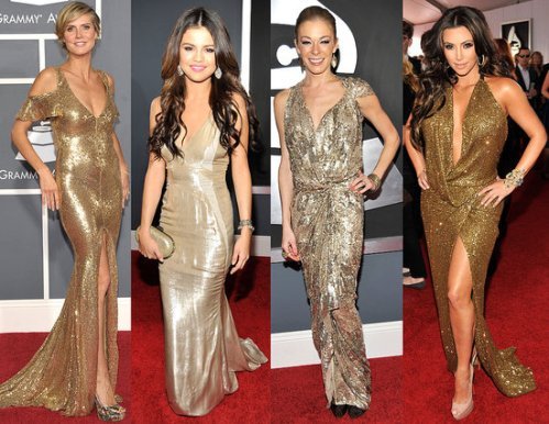 What color dress with gold shoes