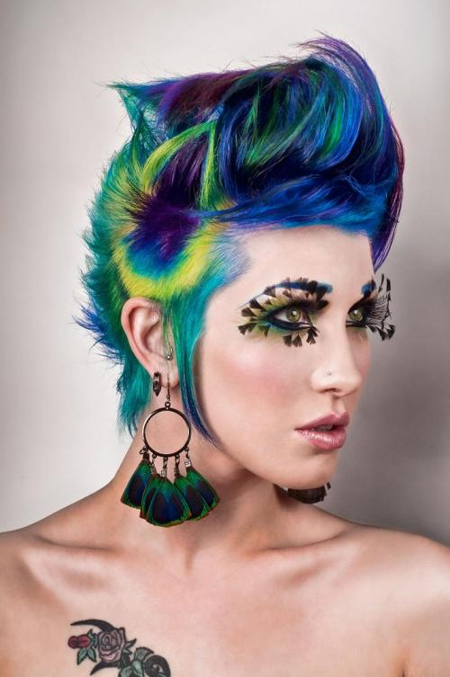Peacock Dip Dyed Hair
