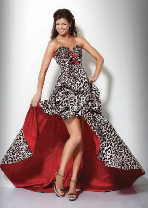 red and black cheetah prom dress