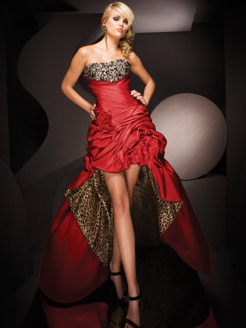 red cheetah print prom dress