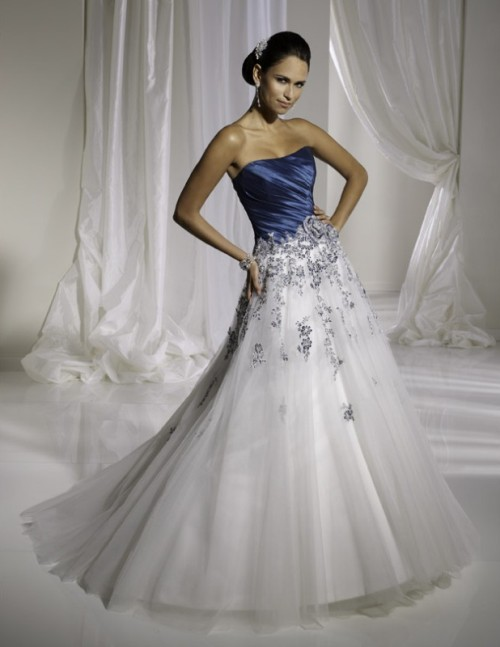 Simple white and blue wedding dresses for Royal blue and silver wedding dresses