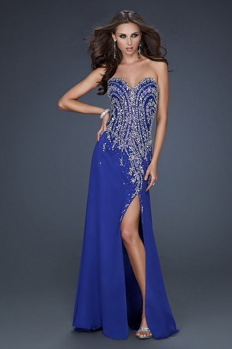 Blue Color Prom Dress