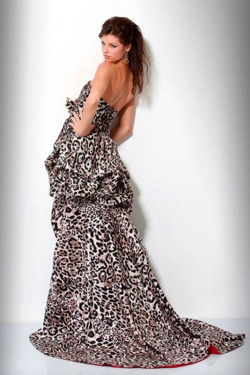 Black leopard prom dress for Zebra print wedding dress