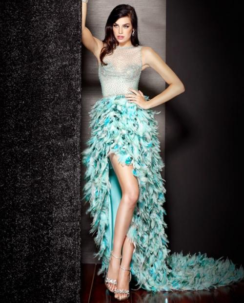 Long Feather And Sequin Prom Dresses