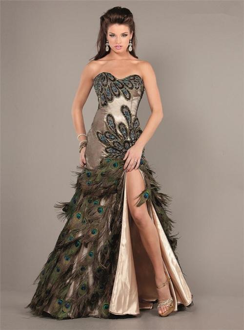 peacock dress prom girl