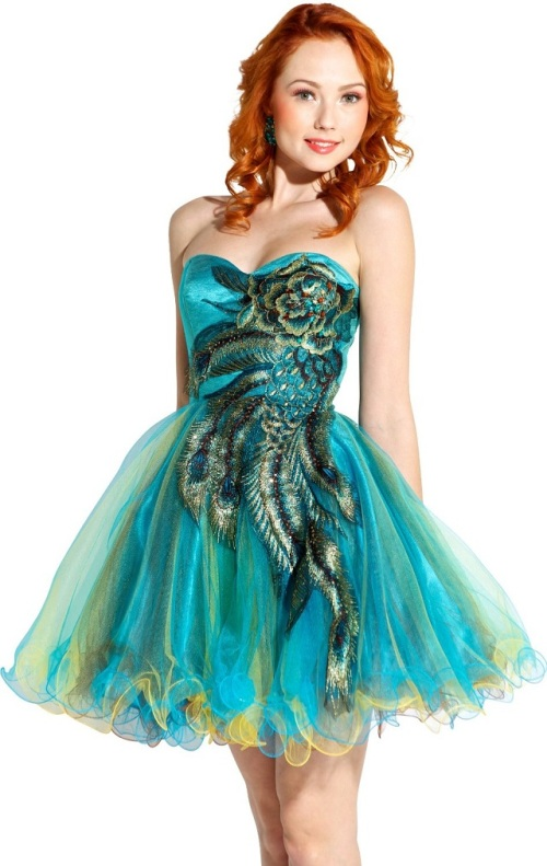 peacock dresses for homecoming