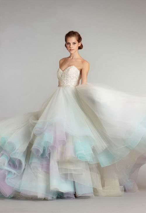 Pink And Blue Bridal Dresses Picture