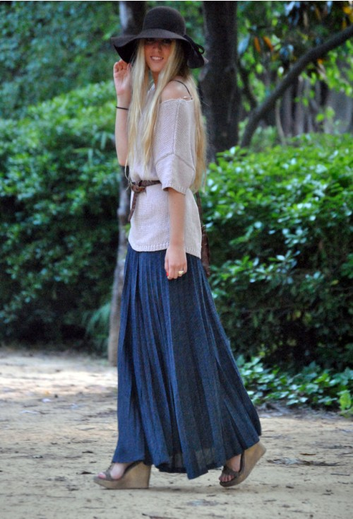 wedge heels with long skirt for women
