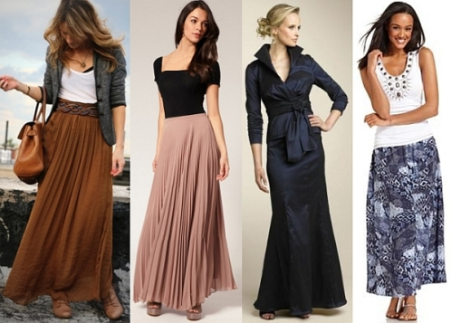 what top to wear with long chiffon skirt
