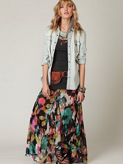 what top to wear with long flowy skirt
