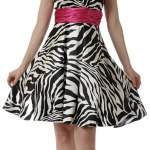 zebra print dress with red belt