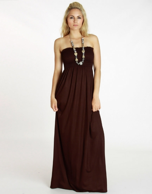 brown strapless maxi dresses 2013