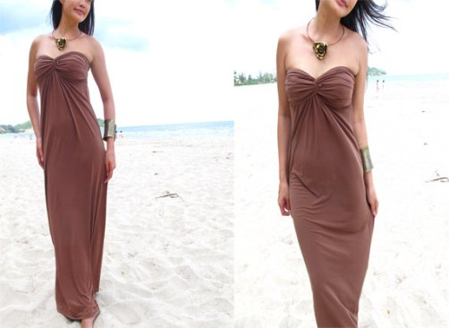 brown strapless maxi dresses picture