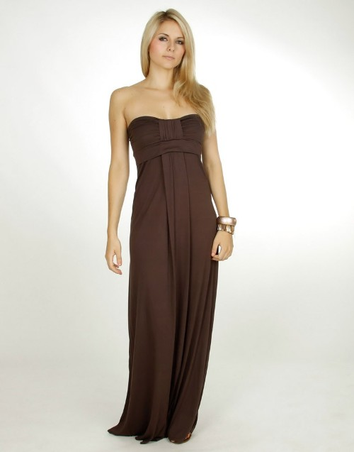 brown strapless maxi dresses uk