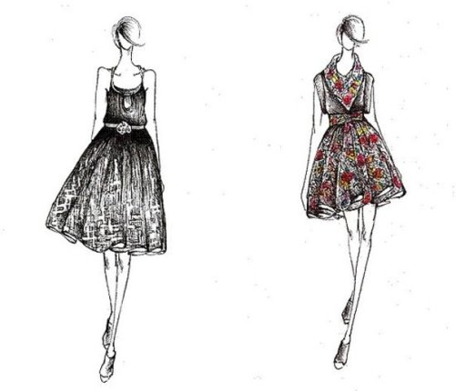 Flowing dresses drawing pictures