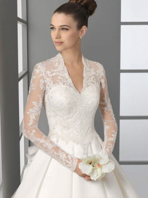 a line lace wedding dress with sleeves