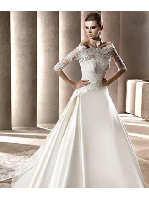 A line lace wedding dress with sleeves for Satin and lace wedding dresses