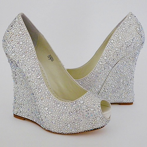bridal shoes wedges heel