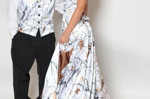 camo wedding dress and tux