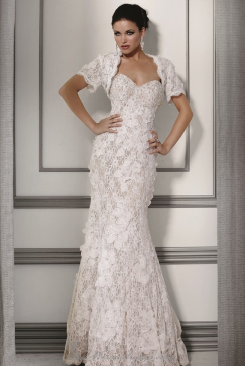 elegant evening dresses with lace overlay