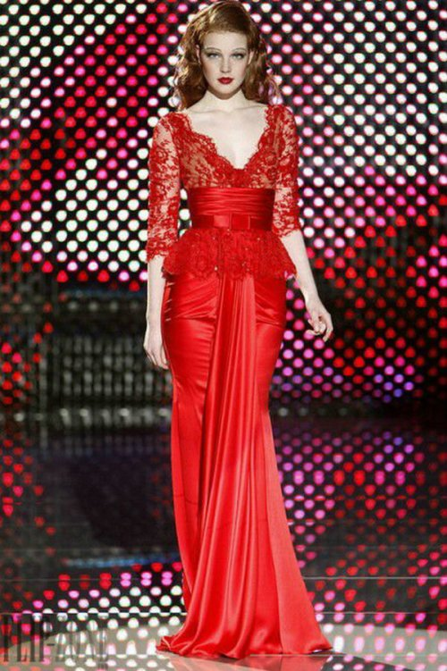 long lace dress red 2013