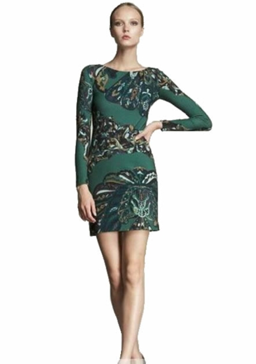 peacock print short dress