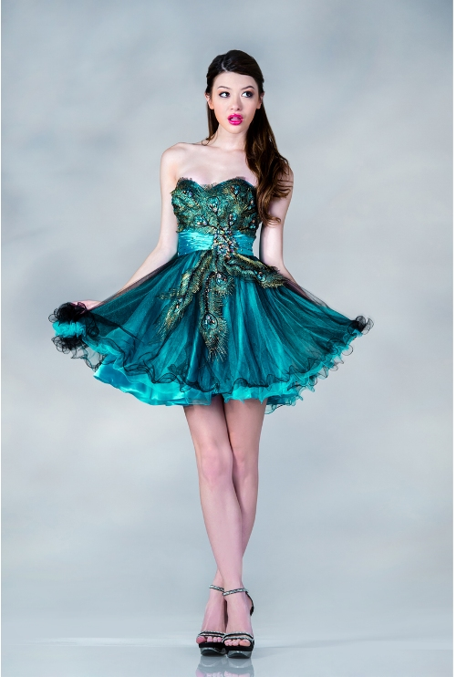 peacock short prom dress